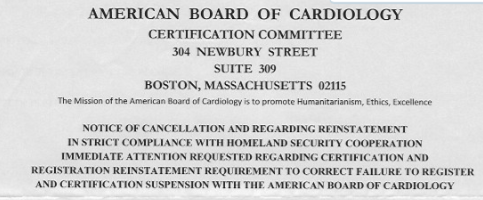 The American Board of Cardiology Is One Of Many Scams Providing Bogus Credentials To Physicians